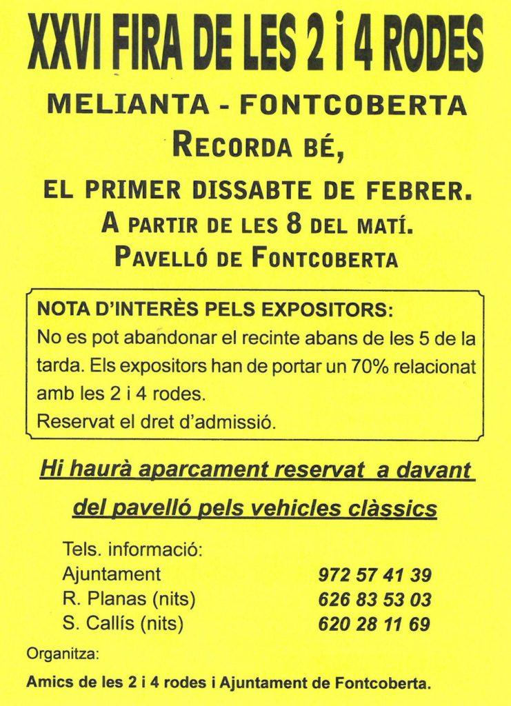 A partir de les 08.00. Pavelló Melianta-Fontcoberta. Fira.